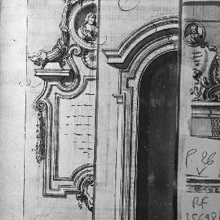 원형 저부조의 남자 흉상이 있는 비문 : 아케이드의 세부 묘사