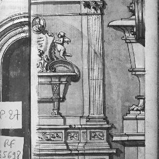 남자 흉상 위의 가문을 받치고 있는 소천사들이 있는 무덤