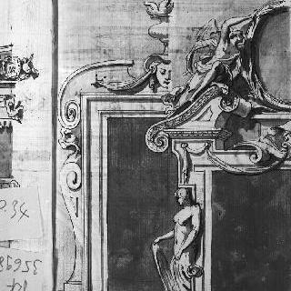 2가지 건축 세부 묘사 : 하나는 냄비와 기괴한 안면상, 다른 하나는 천사가 있는 건축물