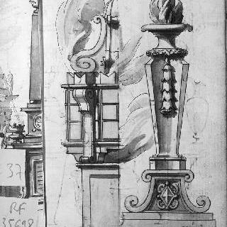 코니스와 마룻대의 2가지 장식 세부 묘사와