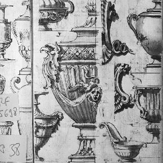 항아리와 냄비의 세부 묘사 습작 5점 : 2가지 조각된 장식 소재