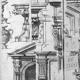 항아리의 세부 묘사 2점과 건축 소재 습작 5점 : 코니스, 아케이드
