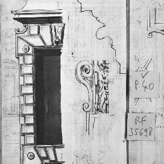 마름모꼴의 창문 세부 묘사와 조각된 소재의 코니스 단면도