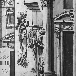 코니스와 콘솔테이블의 장식 세부 묘사. 창문쪽 정면 부분