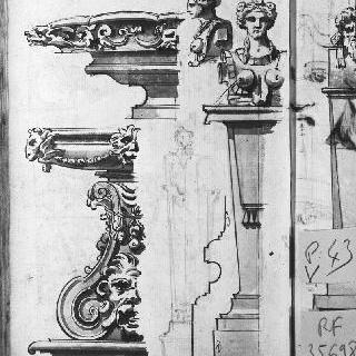 분수 장식을 위한 4개의 모티프 : 2개의 수반과 2개의 여성 흉상