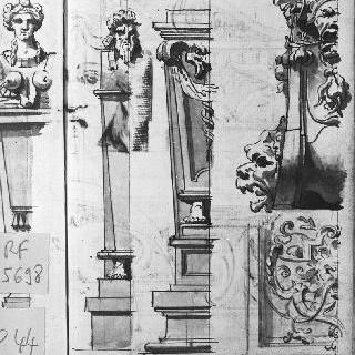 두 개의 흉상주 : 수염 난 두상과 기괴한 안면상이 있는 받침돌 : 건축 장식