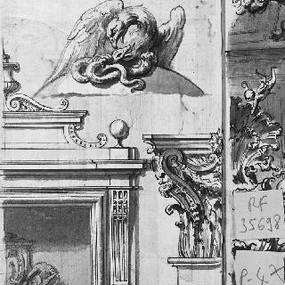 기념물의 박공 : 2가지 조각의 소재 : 목수리와 뱀의 전투
