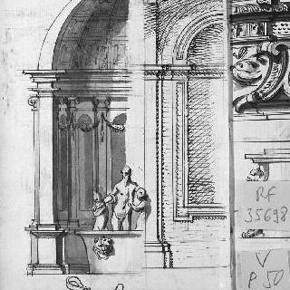 둥근 지붕의 궁륭형의 예배당의 절단면과 세 인물의 1차 초벌 도면