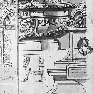 무덤의 두 부분 : 조각된 석관과 성직자의 흉상이 있는 벽 무덤