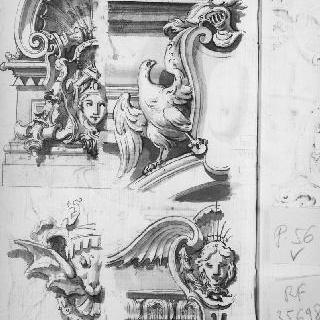 건축 장식의 4가지 소재 : 독수리, 인물들의 두상. 투구