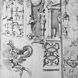 그로테스크 장식 소재와 4개의 건축 장식