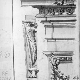 코니스와 받침돌의 세부 묘사와 조각된 소재