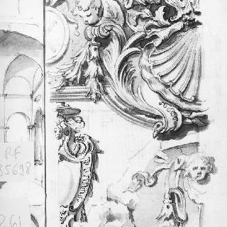 건축 장식 소재 : 조개껍질, 인물들의 두상