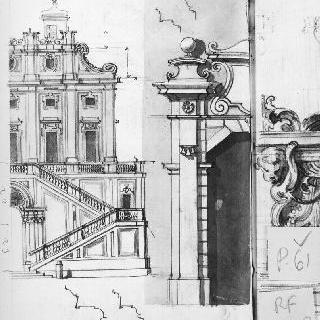 작은 탑의 우측 윗부분에 계단이 있는 4층의 정면 부분