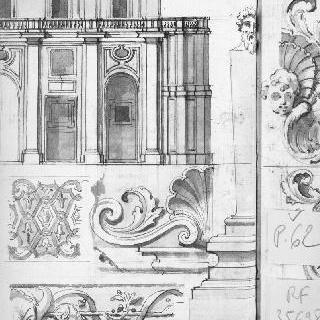 3층의 정면 : 아케이드와 난간으로 둘러싸인 위쪽의 창문들