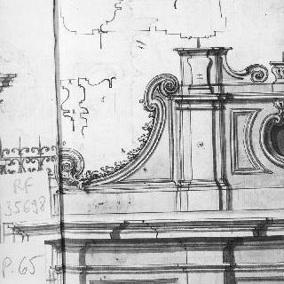 정면 앵글의 꼭대기의 세부 묘사 : 코니스의 단면도