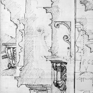 코니스 단면도와 조각된 콘솔테이블의 세부 묘사