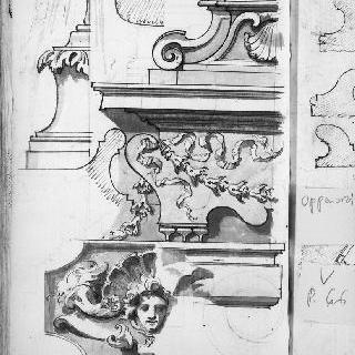 조각된 받침도과 코니스의 세부 묘사 ; 잎 모양 장식, 화관, 인물들의 두상