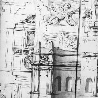 아케이드, 벽감, 창문의 세부 묘사 . 코니스의 단면도