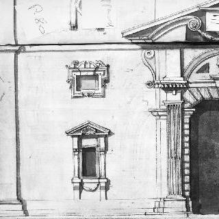 어느 왕궁의 정면 앵글 : 문, 벽감, 조각된 장식. 코니스의 단면도