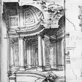 주랑이 있는 둥근 지붕의 궁륭형의 예배당 내부의 절단면