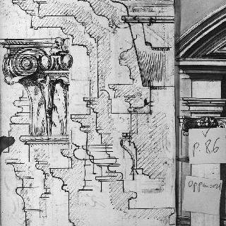 코니스 단면도와 기둥머리 세부 묘사