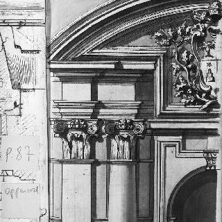 교황의 문장이 있는 왕궁 정면의 모서리