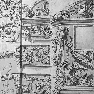 조각된 장식이 있는 건축 세부 묘사