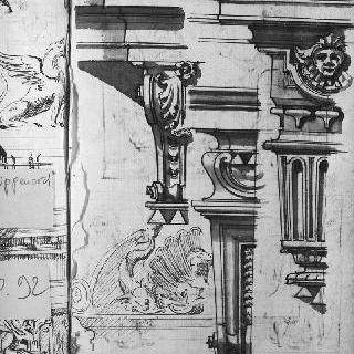 앵글과 코니스의 세 가지 세부 묘사. 조각된 소재 : 인물의 두상과 조개껍질