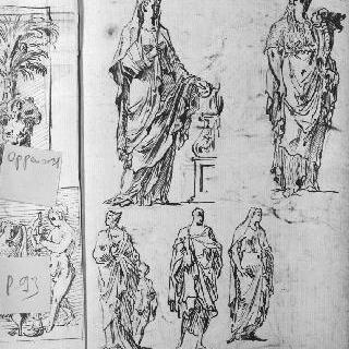 동상풍의 주름진 천을 두르고 서 있는 인물들의 습작 5점 : 풍요로움의 우의화 : 여인