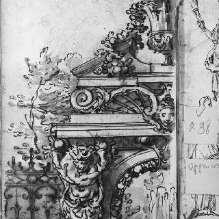 여인상 기둥과 조각된 박공이 있는 문의 세부 묘사