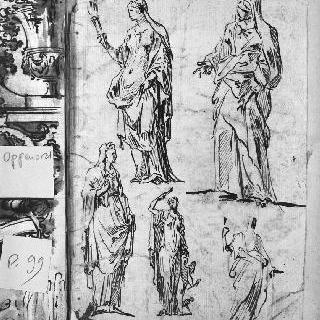 동상풍의 습작 5점 : 주름진 천을 두르고 서 있는 인물들