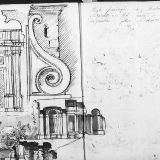 정면 입면도 : 아케이드. 코니스 모퉁이의 세부 묘사 : 풍경 속 샘과 못
