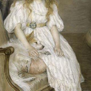 흰색 강아지를 들고 있는 소녀