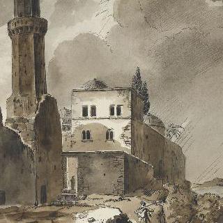 폭퐁우가 내리는 날의 예루살렘에 있는 아상시옹 교회 정경