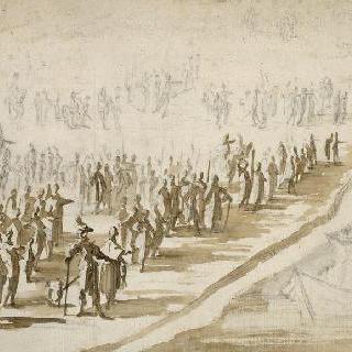 레 섬으로 떠나는 군대 출정식에 참가한 루이 13세와 리슐리외 추기경