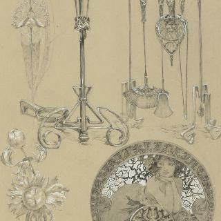 벽난로, 장작 받침쇠, 꽃 장식 소재와 소화기의 기구