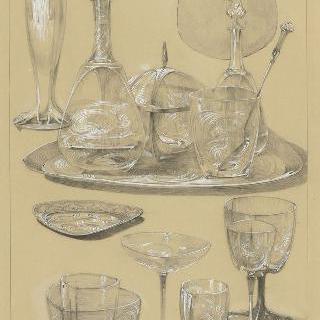 유리잔 세트와 물병, 접시