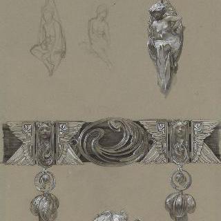 허리띠, 반지, 귀걸이에 늘어뜨린 보석과 주요 소재의 두 개의 반복