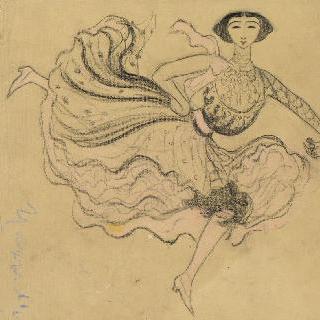 스페인 전통복을 입고 춤추는 벨 오테로의 희화화된 초상