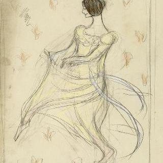 왼쪽 방향으로 돌며 춤추고 있는 클레오 드 메로드의 희화화된 초상