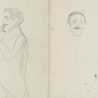 다리 중간까지 보이는 남자와 남자의 정면 두상 : 장 로랭