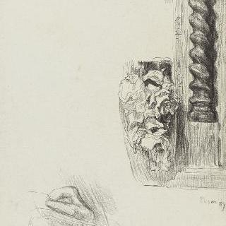 손, 토르소 기둥, 장미가 장식된 화병에 대한 습작