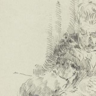 작은 개와 놀면서 앉아 있는 할머니