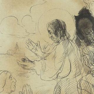 케사르의 데나리우스 돈'에 대하여 설교하는 그리스도