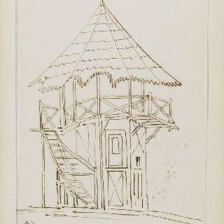 화첩 : 망루로 연결되는 계단이 있는 목재 탑
