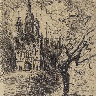 성당이 있는 상상 풍경