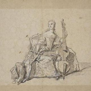 베이스 비올라를 연주하는 앙리에트 드 프랑스 부인의 초상