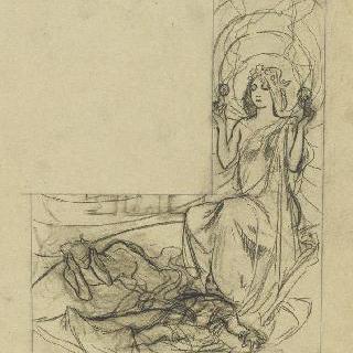 별 왕관을 쓴 젊은 여인과 누워있는 두 인물