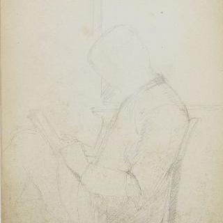 화첩 : 앉아서 책을 읽는 남자의 측면 초상, 자화상